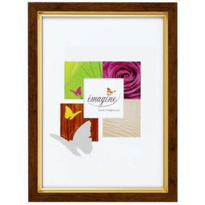 Porte-photo Primo en bois - Plastique - 31,8 x 21,8 cm - Marron - Jaune doré