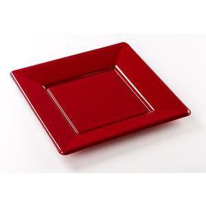 Lot de 8 assiettes - plastique - 23 x 23 cm - Rouge bordeaux