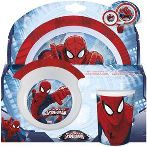 "Set repas ""Spiderman"" - Mélamine - - 22,5 x 23,5 x 7 cm - Multicolore"
