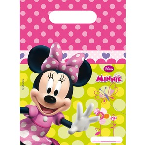 Lot de 6 sacs de fête Minnie Bow-tique en plastique - 18 x 29,5 cm - Multicolore