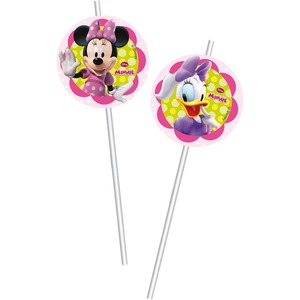 Lot de 6 pailles minnie Bow-tique en carton - 24 cm - Multicolore